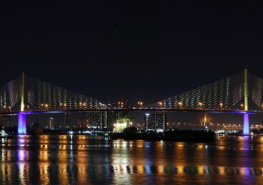 Bridges in Bangkok decorated in honor of His Majesty the King